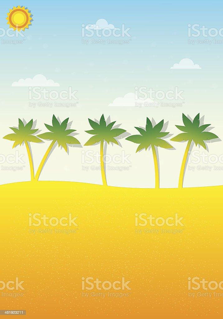 Paysage tropical avec ses palmiers stock vecteur libres de droits libre de droits
