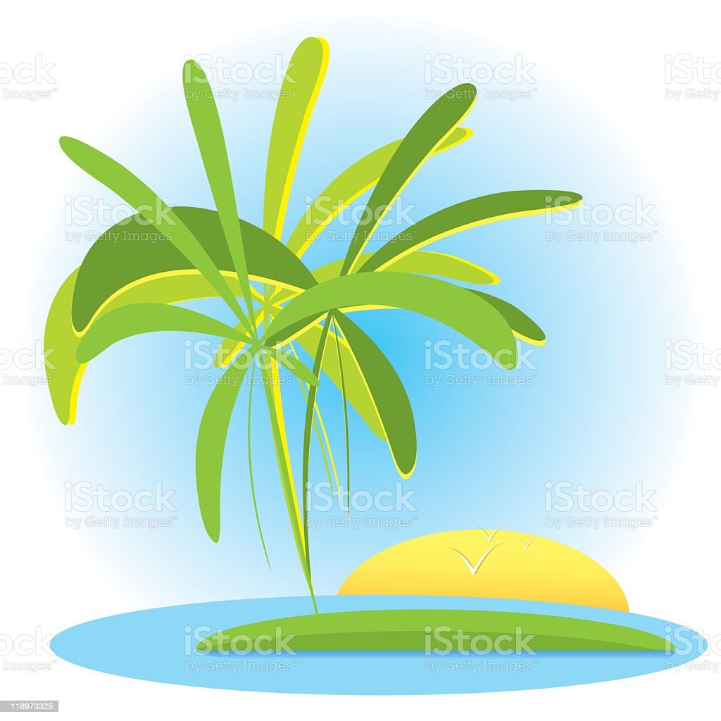 Tropical landscape with palms and sunset royalty-free stock vector art