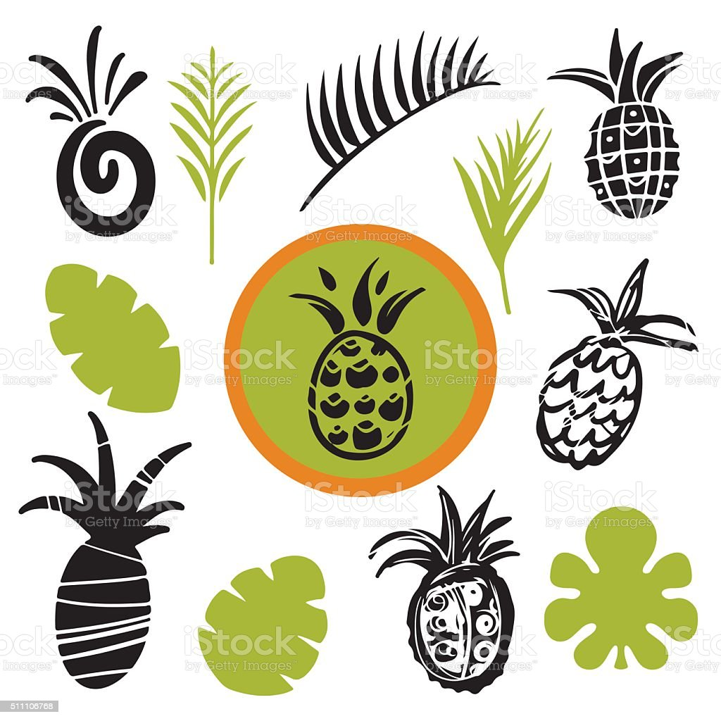 Tropical leaves and pineapples vector art illustration