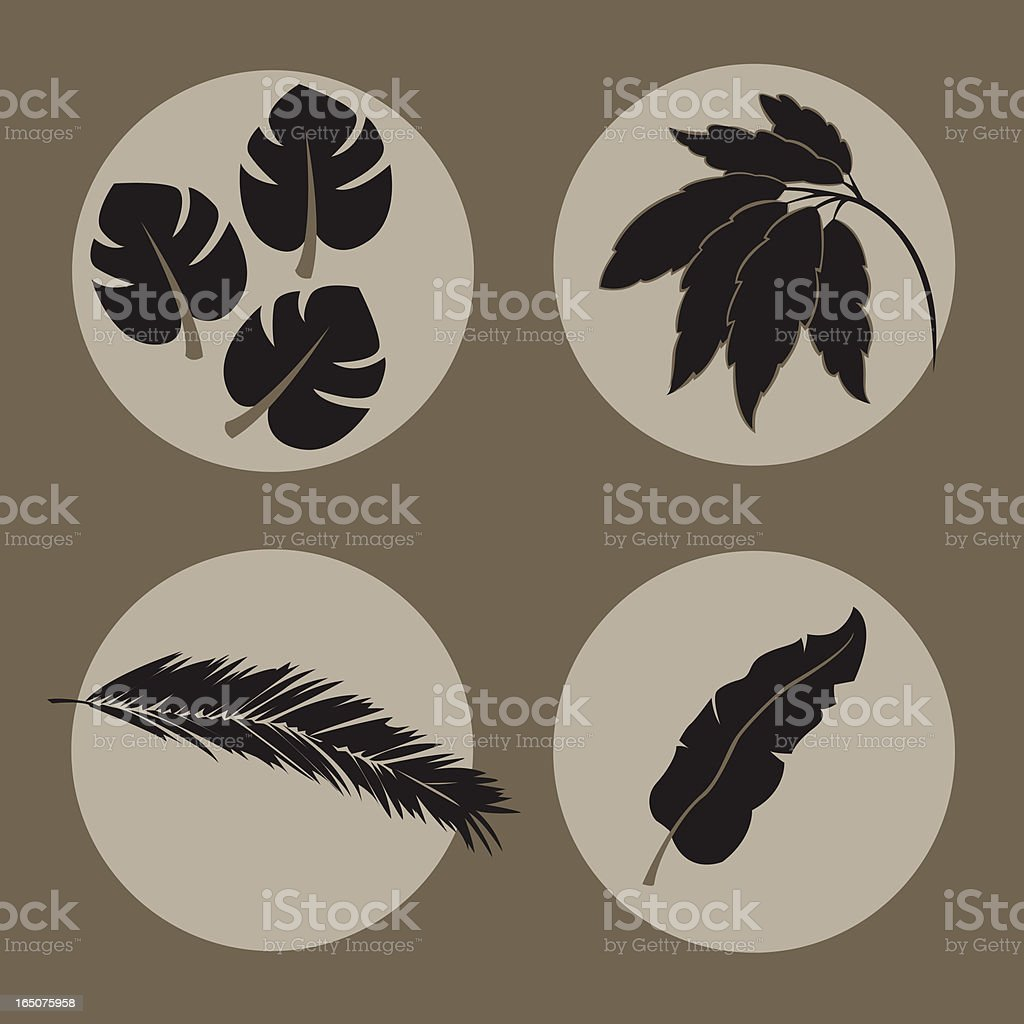 Tropical leaves icons royalty-free stock vector art