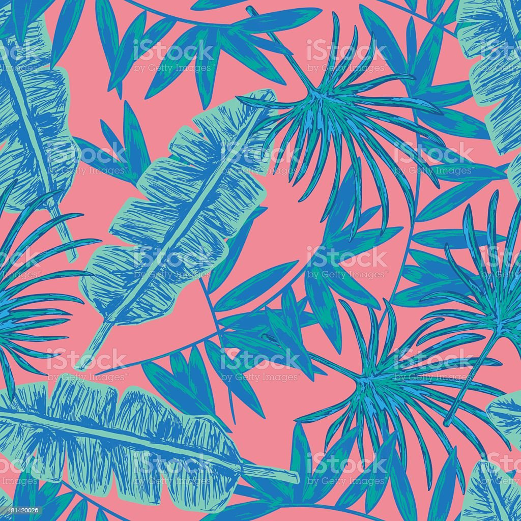 Tropical leaves seamless background. vector art illustration