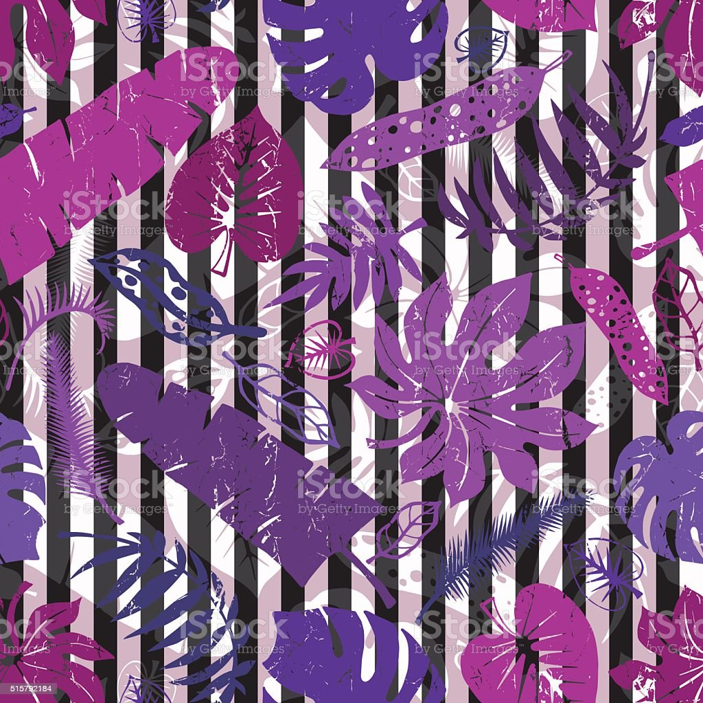 Tropical leaves,branches seamless pattern.Lilac,strips vector art illustration