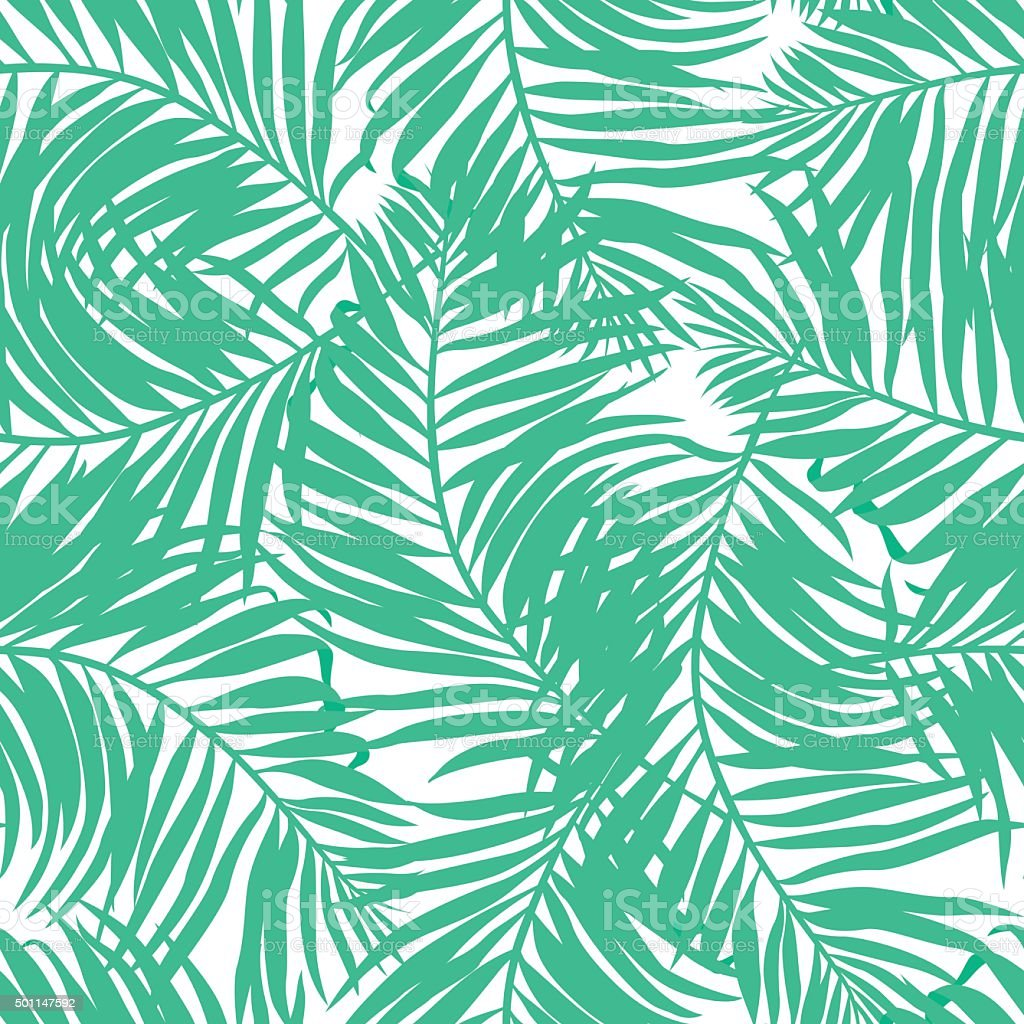 Tropical lush palms seamless pattern vector art illustration
