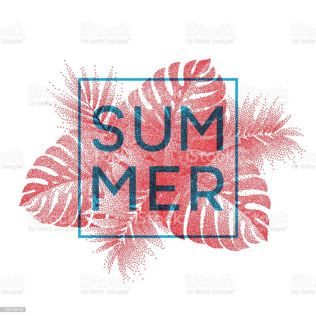 Tropical monstera leaves design for text card. Vector illustration vector art illustration