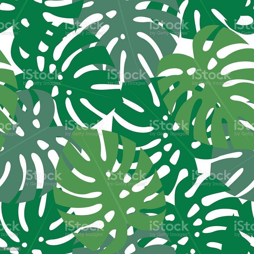 Tropical monstera leaves seamless pattern. vector art illustration