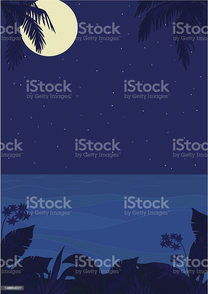Tropical night ocean landscape royalty-free stock vector art