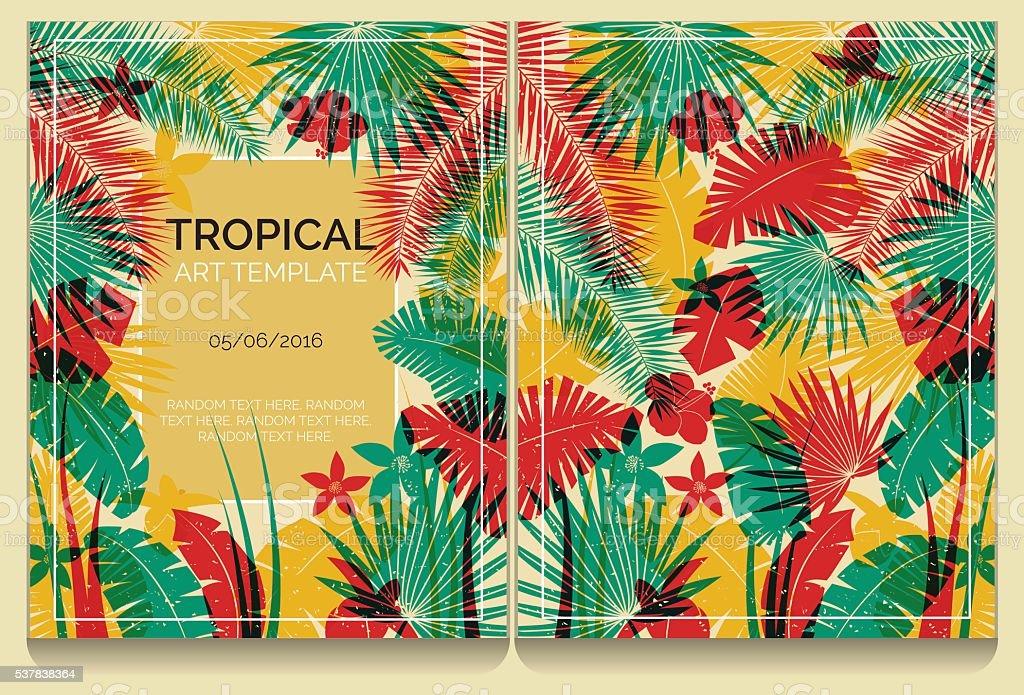 Tropical offset print effect jungle illustration vector art illustration