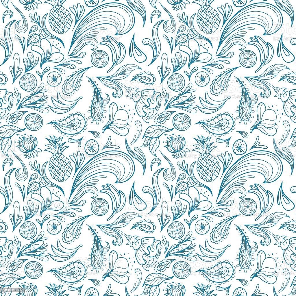 Tropical Outline Vector Pattern vector art illustration