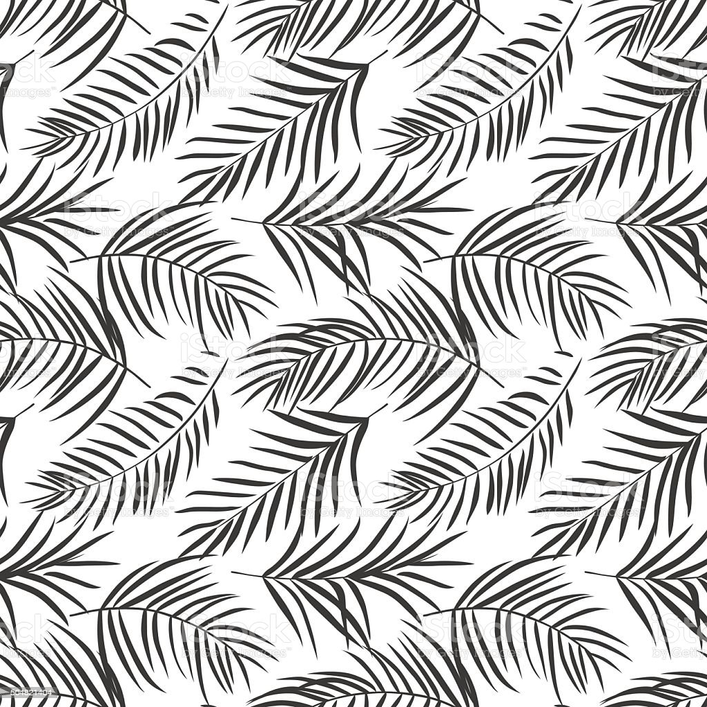 tropical palm leaves isolated on white. Seamless pattern vector art illustration