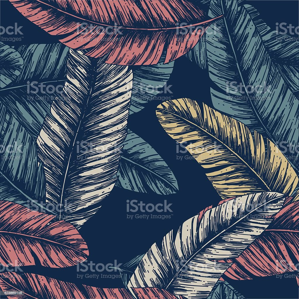 Tropical palm leaves. Seamless Pattern. Vector illustration vector art illustration