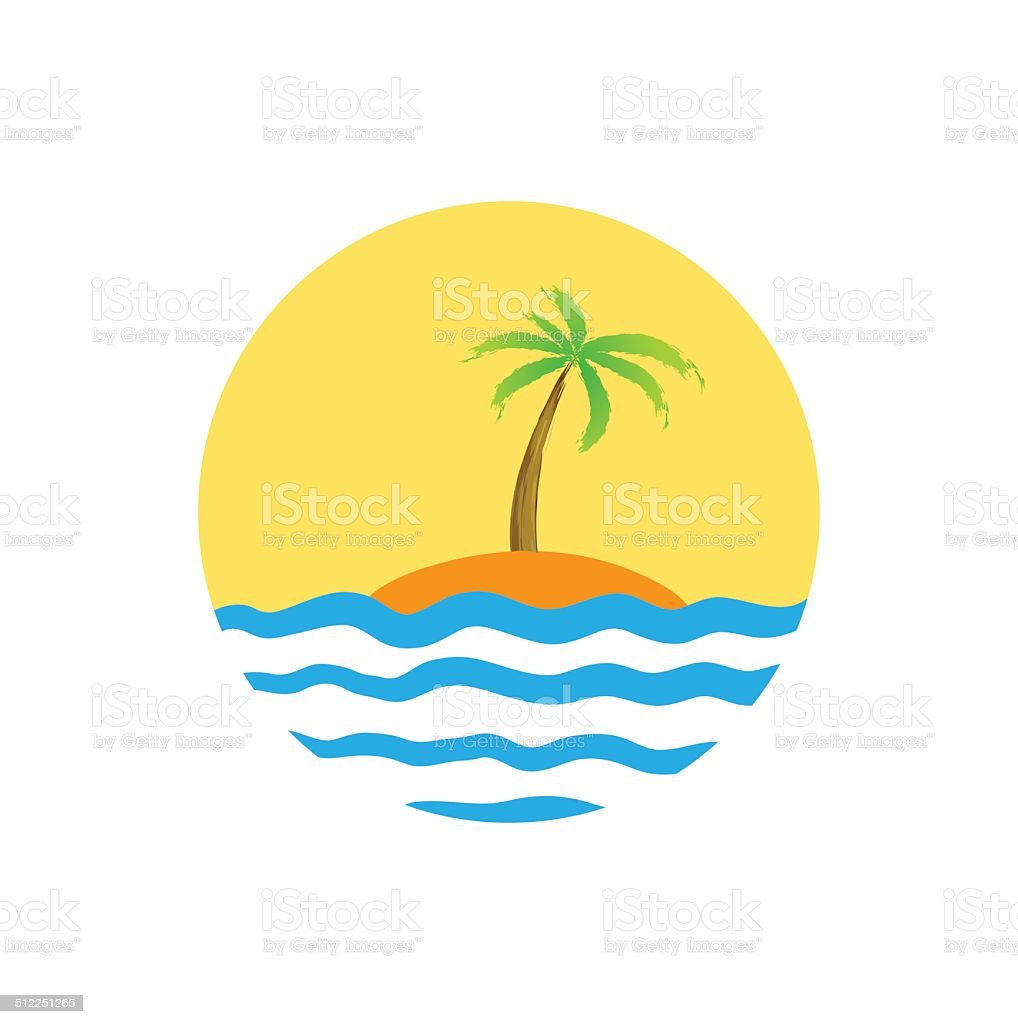 Tropical palm on island with sea. vector art illustration