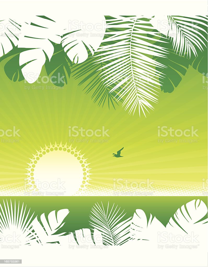 Tropical palm sunset royalty-free stock vector art