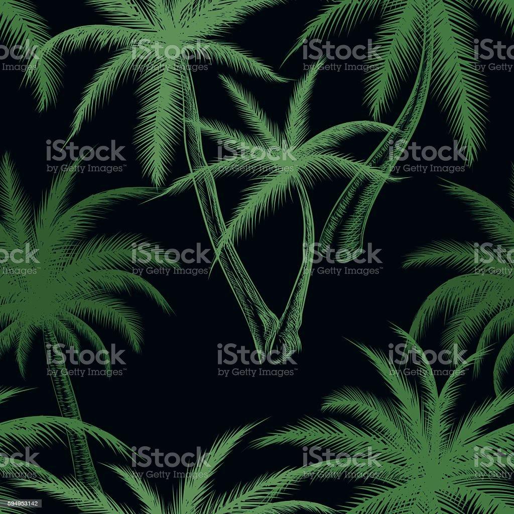 Tropical palm trees leaf pattern vector art illustration