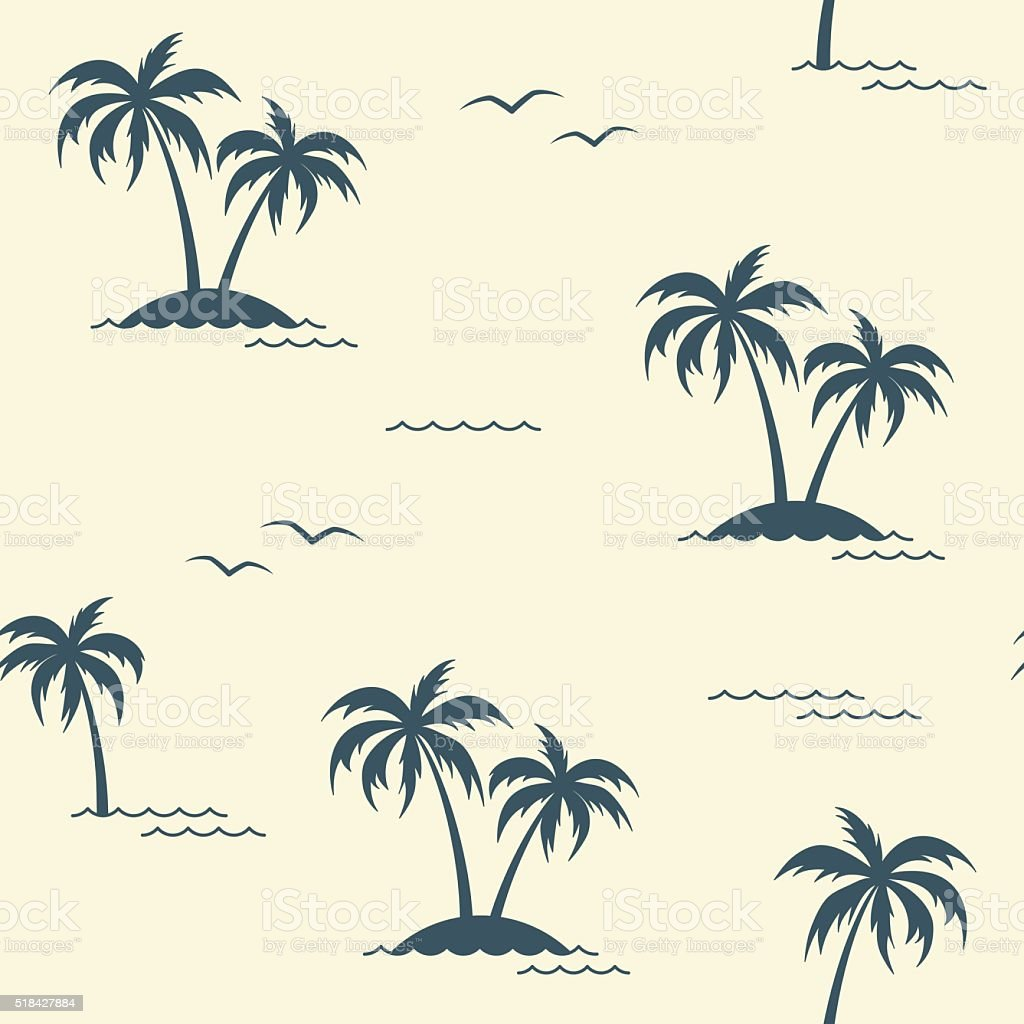 Tropical palm trees seamless background vector art illustration