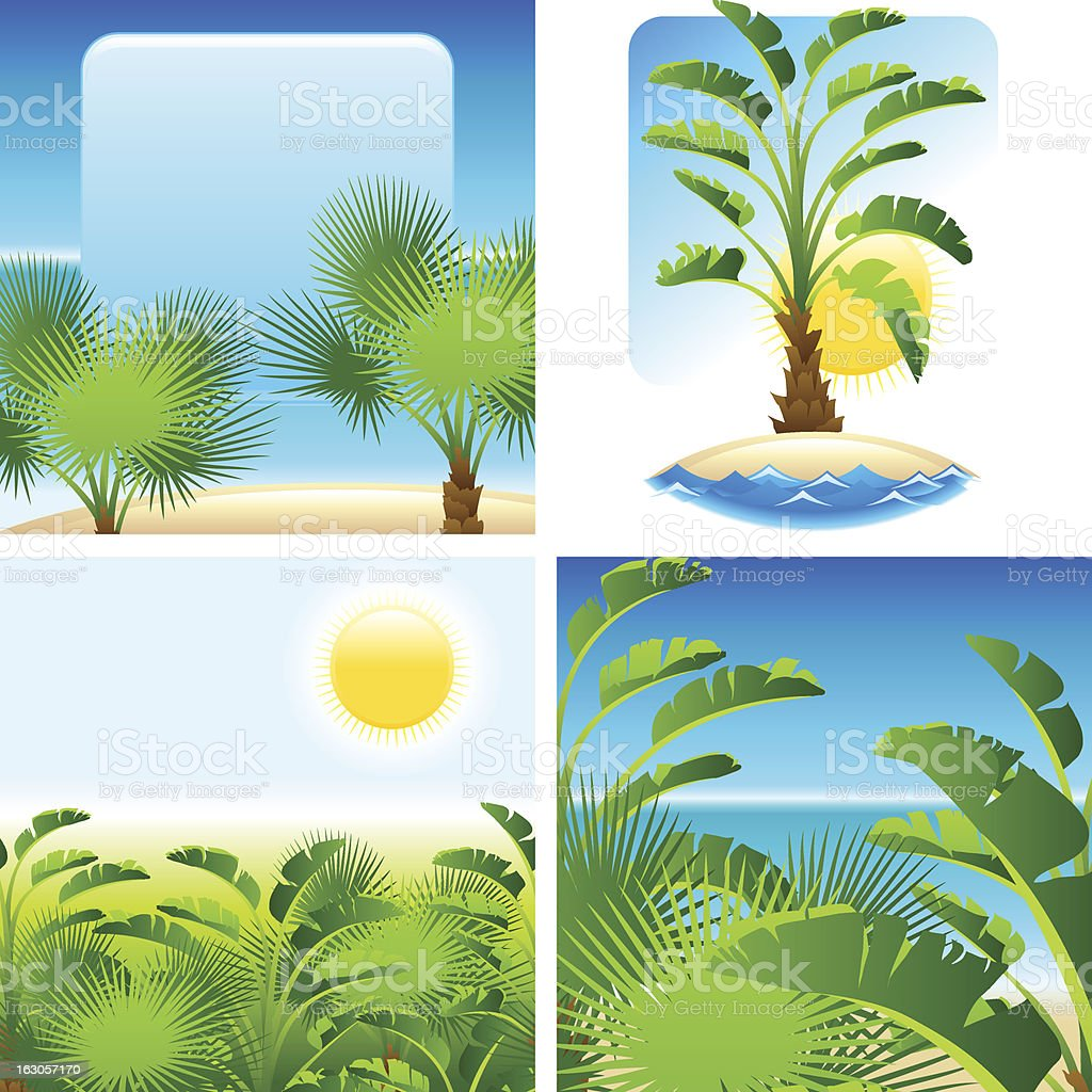 Tropical palm with sea on sunny backgrounds. royalty-free stock vector art