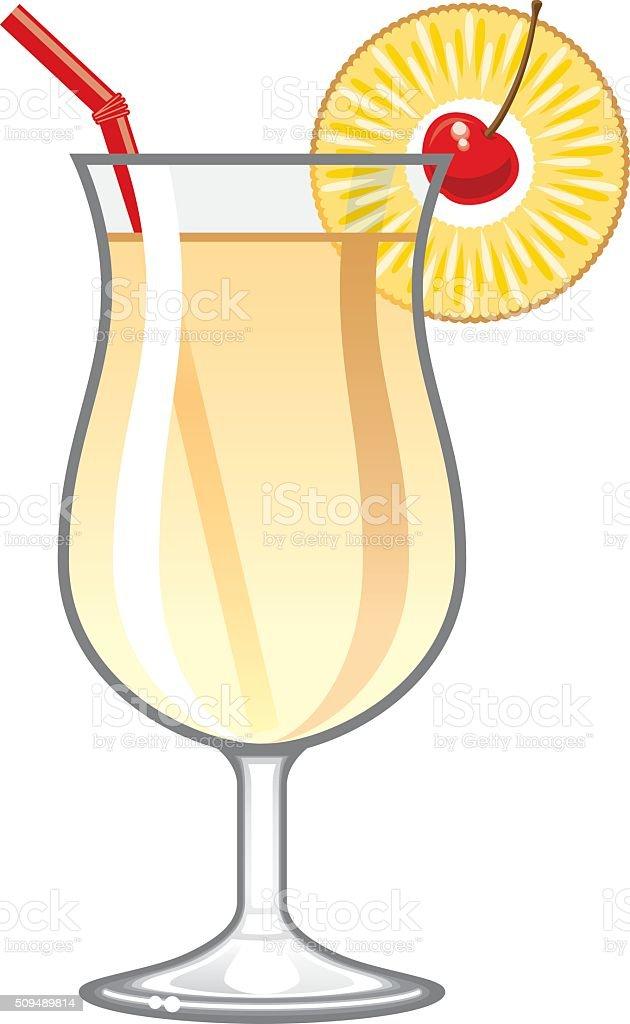 Tropical Pina Colada Cocktail Icon vector art illustration