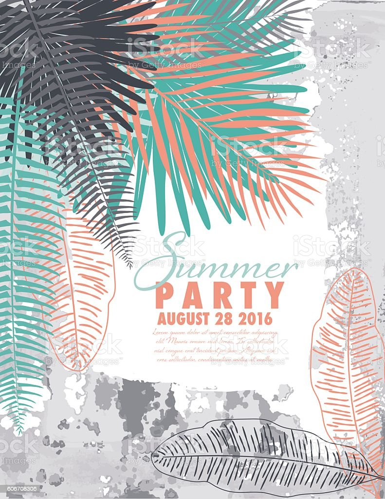 Tropical Plants Summer Party Invitation Template stock vector art – Summer Party Invitations Templates