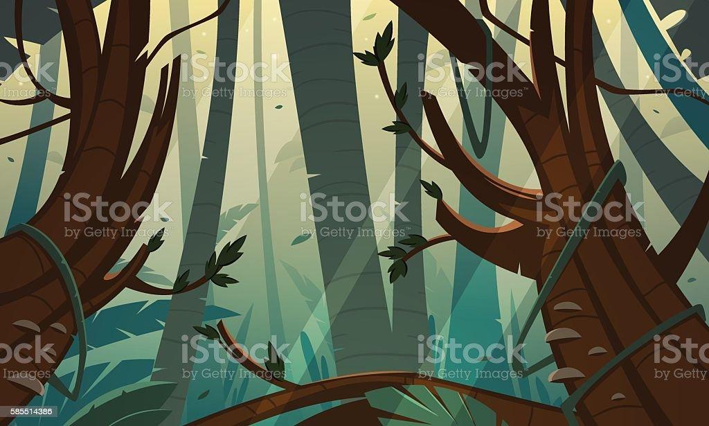 Tropical Rainforest Jungle vector art illustration