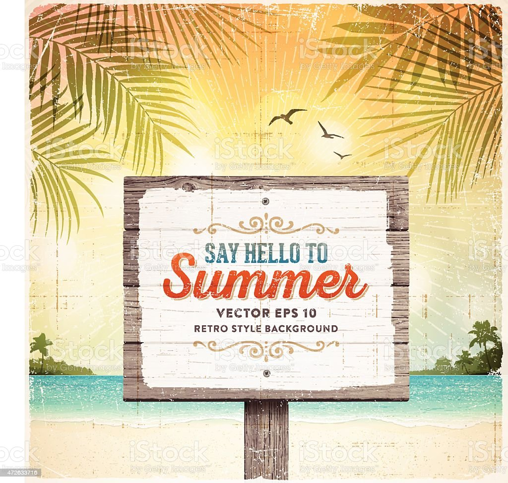 Tropical Retro Beach Summer Wooden Sign Background vector art illustration