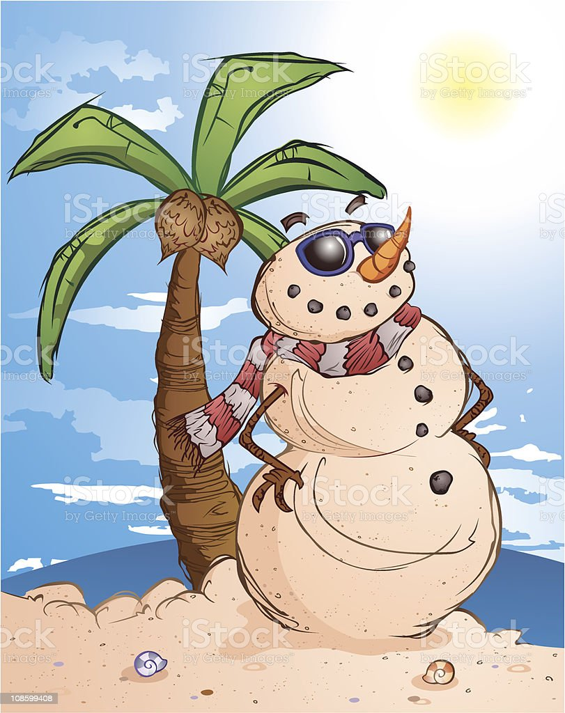 Tropical Sand Snow Man vector art illustration