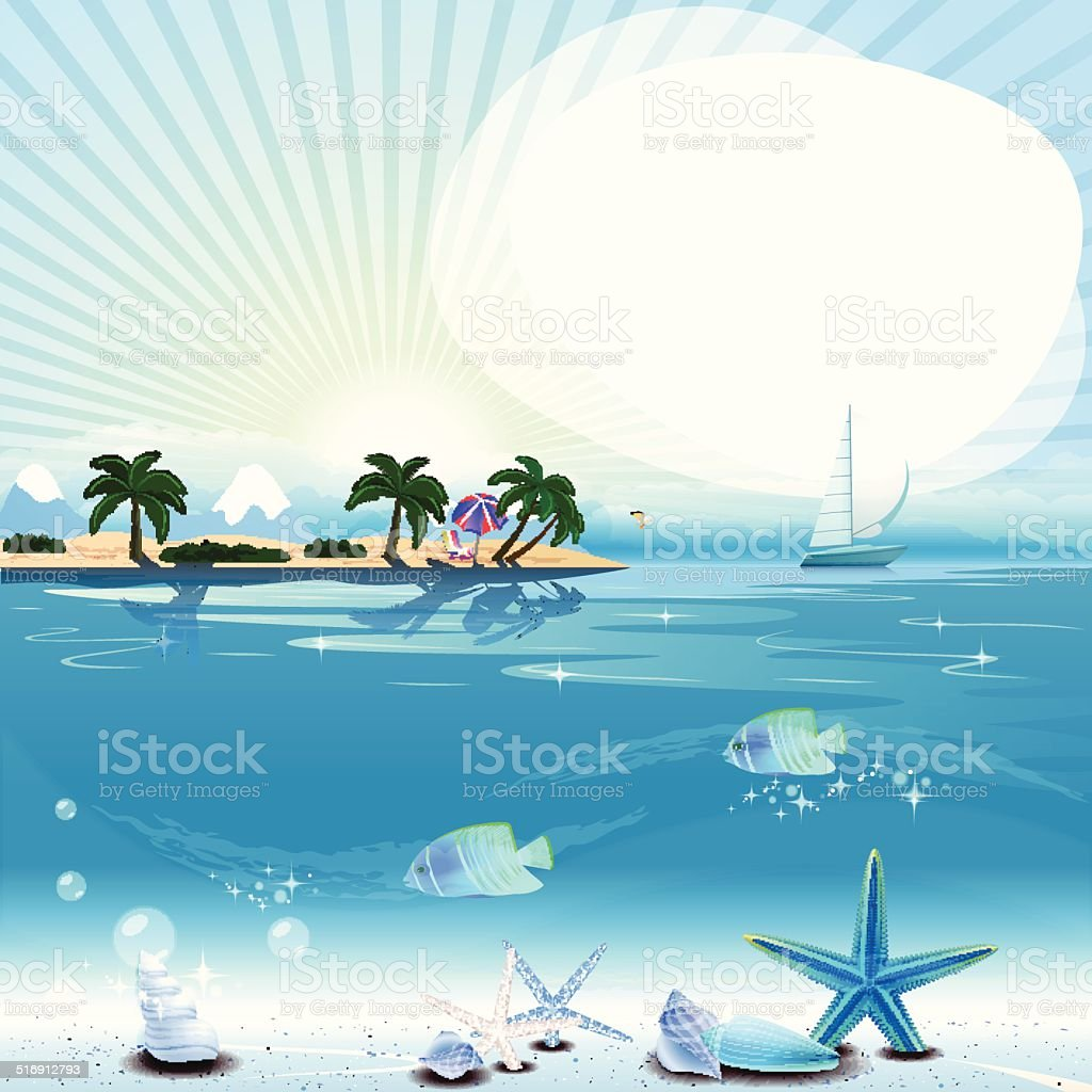 Tropical scene with underwater life and text place vector art illustration