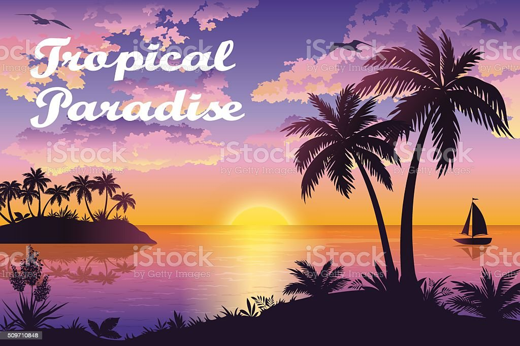 Tropical Sea Landscape with Palms and Ship vector art illustration