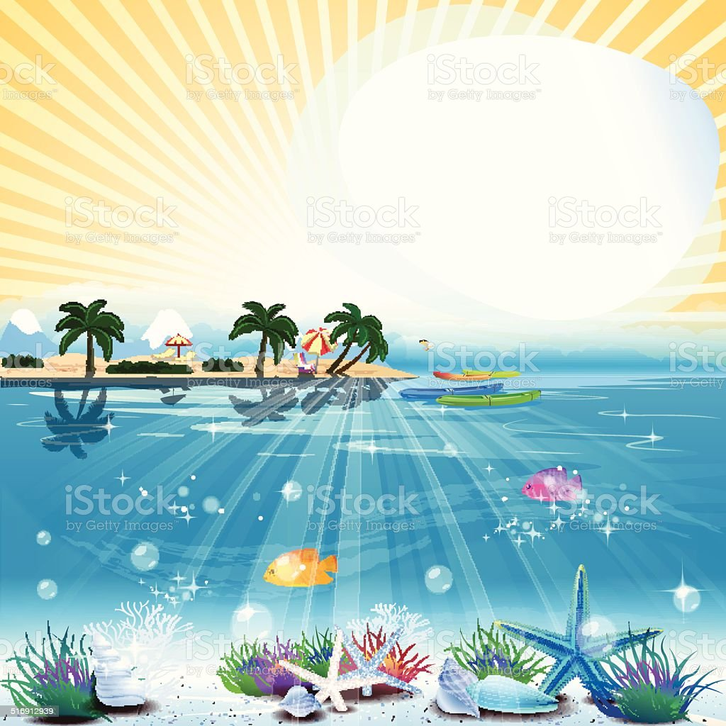 Tropical sea theme background with text area. vector art illustration