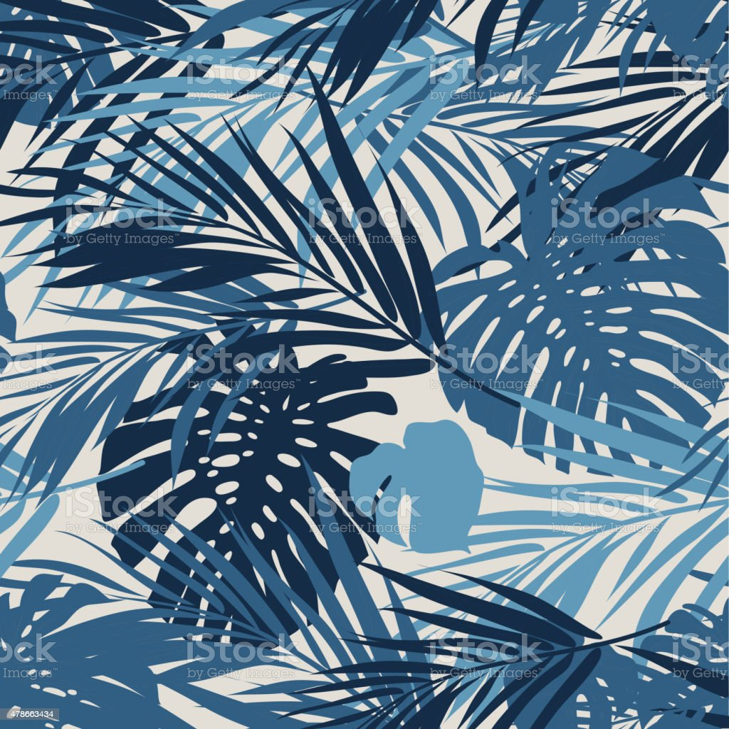 Tropical seamless monochrome blue indigo camouflage background with leaves and vector art illustration
