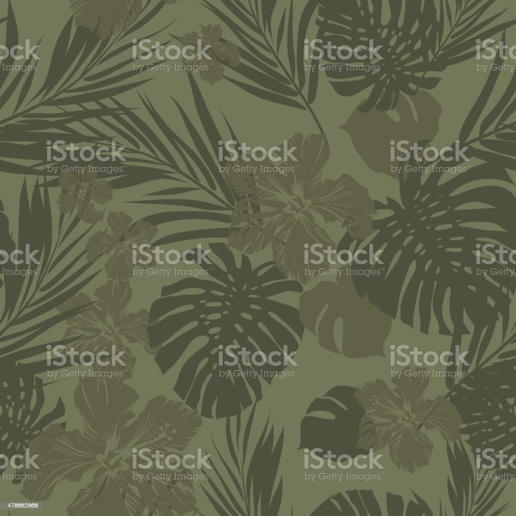 Tropical seamless monochrome khaki camouflage background with leaves and flowers vector art illustration