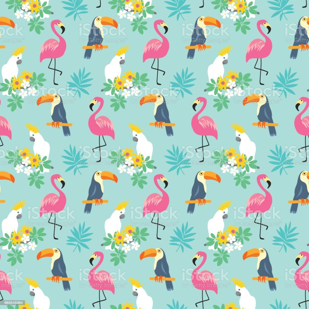 Tropical Seamless pattern with exotic birds vector art illustration