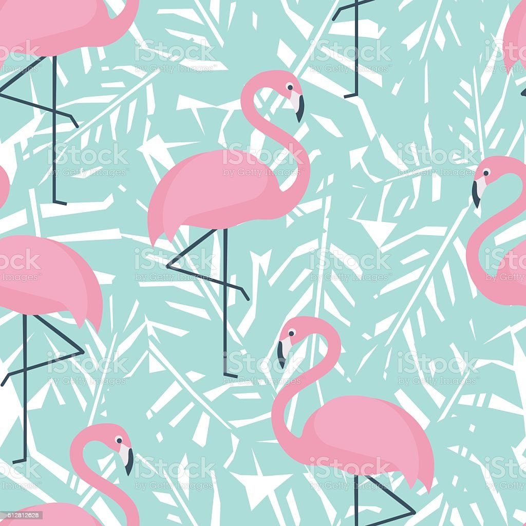 Tropical seamless pattern with flamingos and mint green palm leaves vector art illustration