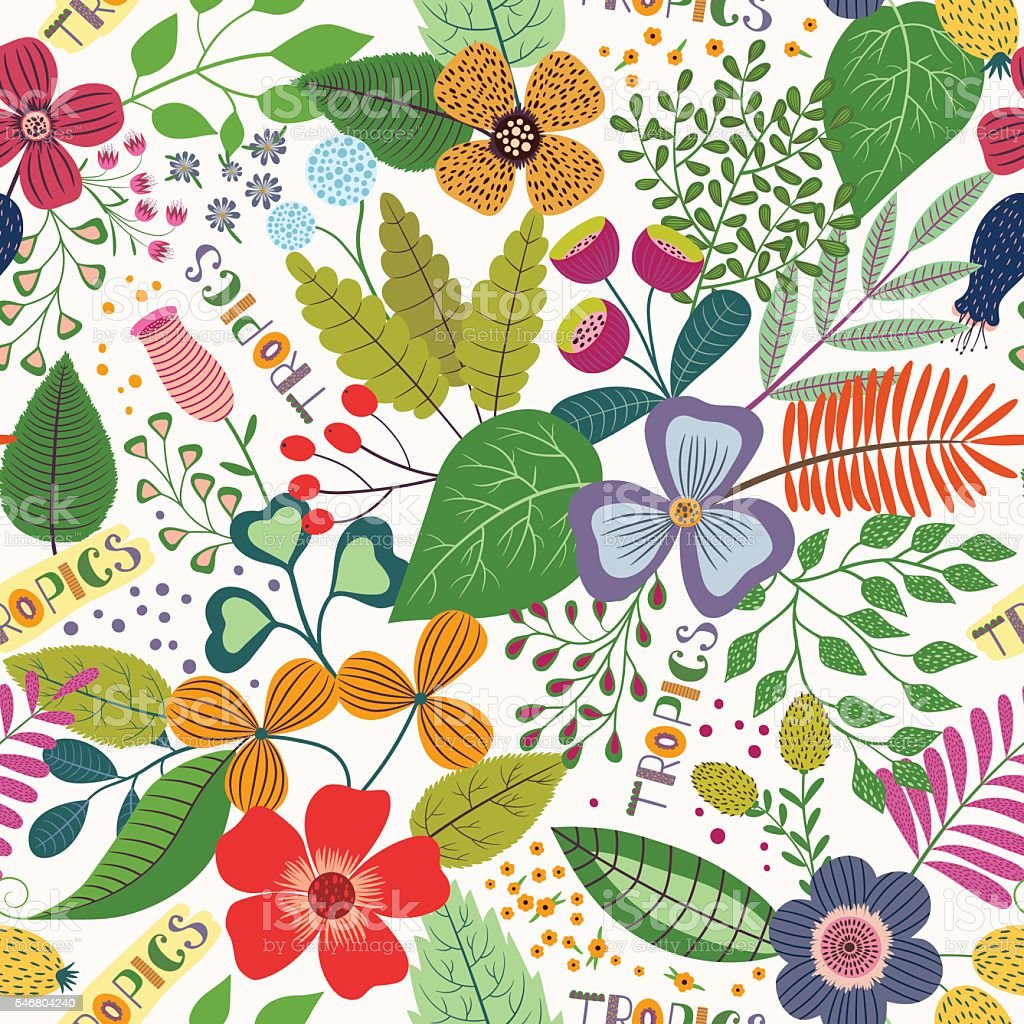 Tropical seamless pattern with leaves and flowers vector art illustration