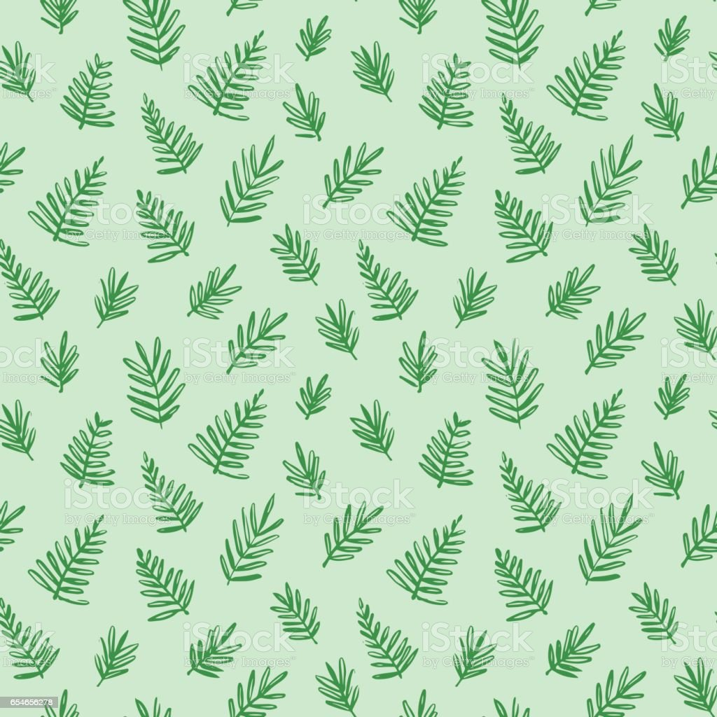 Tropical seamless pattern with palm leaves. Exotic tree foliage made in brush style. Vector. vector art illustration