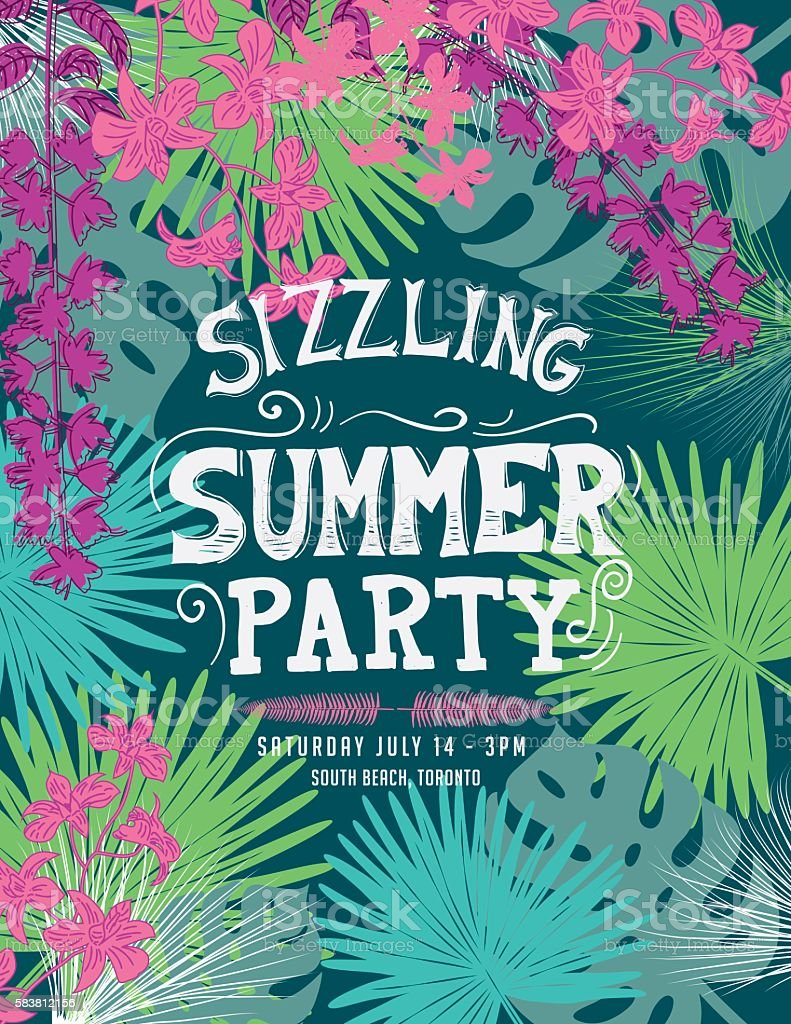 Tropical Sizzling Summer Party Invitation Template vector art illustration