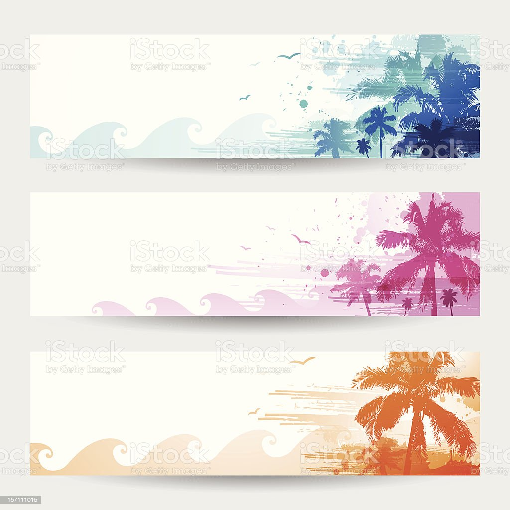Tropical summer banners vector art illustration