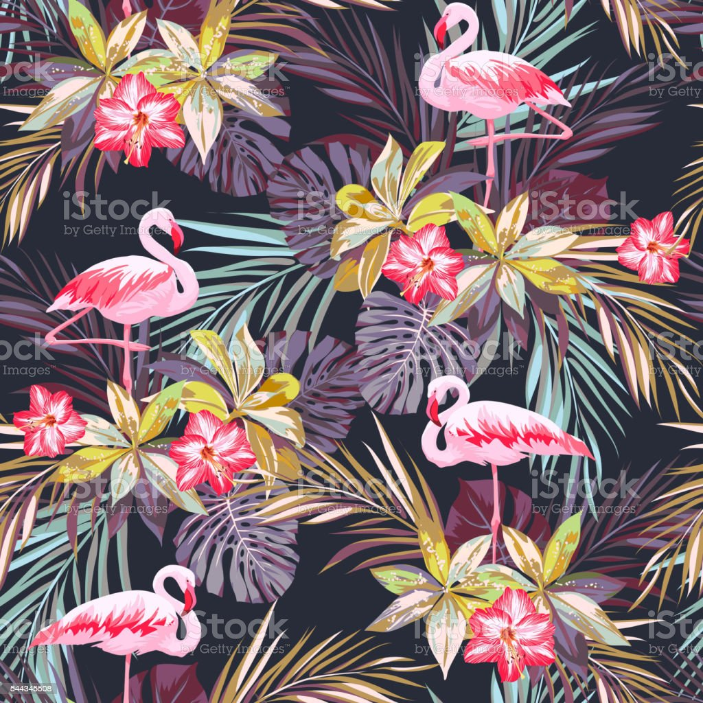 Tropical summer seamless pattern with flamingo birds and exotic plants vector art illustration