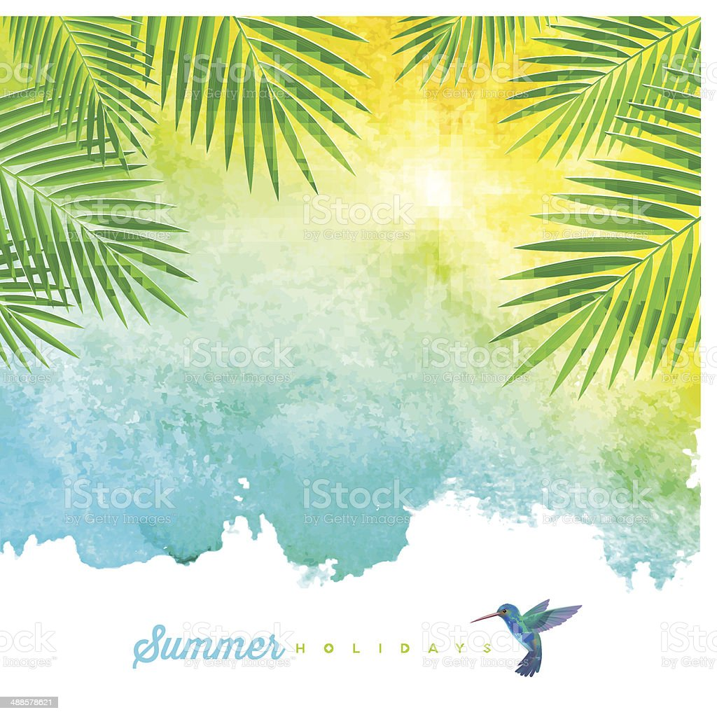 Tropical summer watercolor background vector art illustration