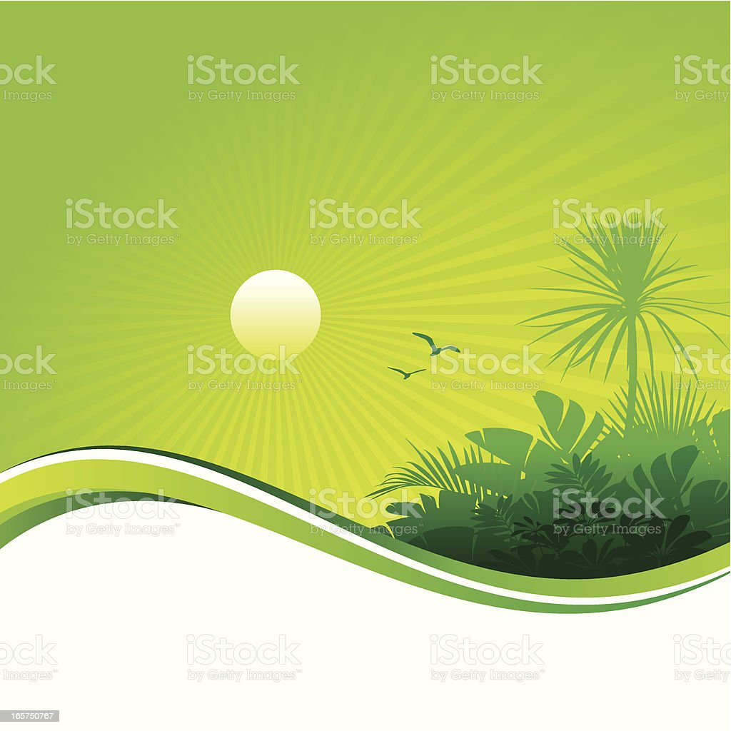 Tropical sunset background royalty-free stock vector art