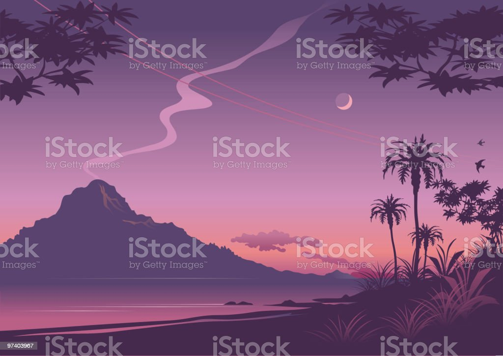 Tropical sunset illustration in shades of purple royalty-free stock vector art
