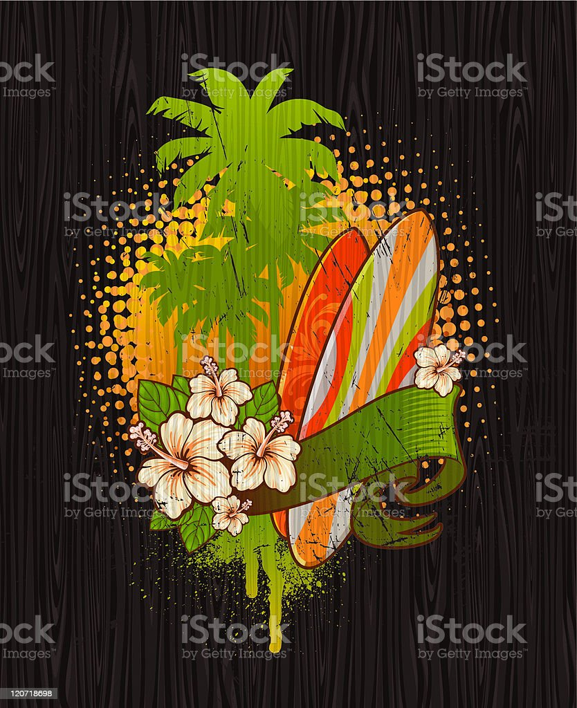 Tropical surf emblem painting on a wood board royalty-free stock vector art