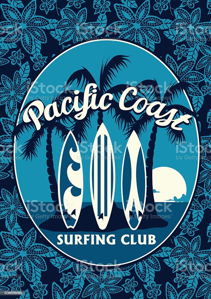 Tropical surfing club poster with palm trees and surfboards vector art illustration