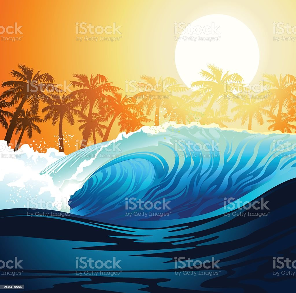 Tropical surfing wave at sunrise with palm trees vector art illustration