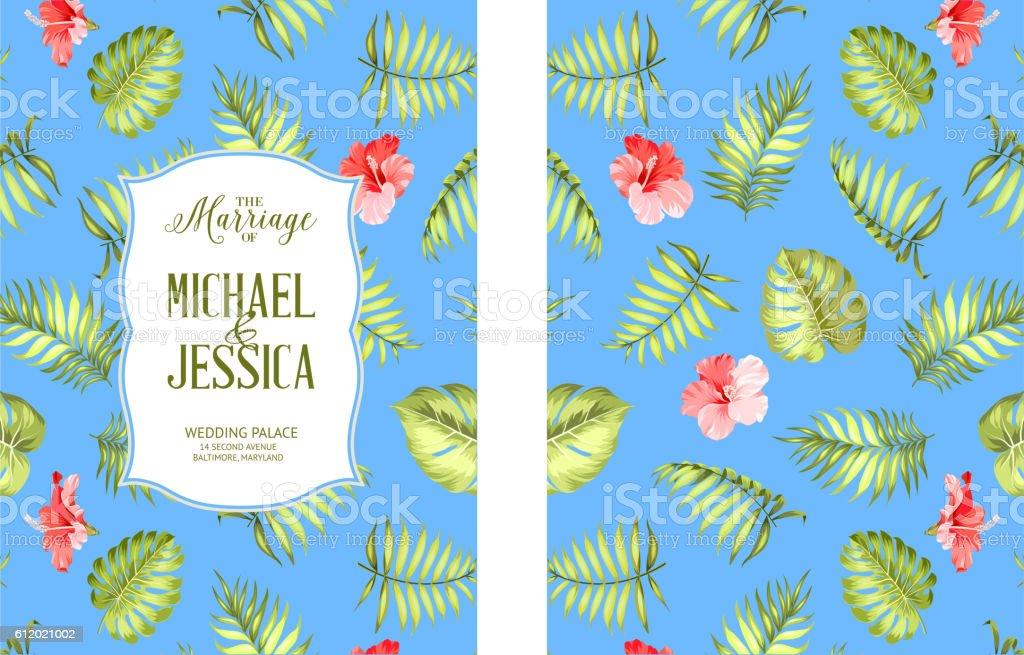 Tropical theme cover. vector art illustration