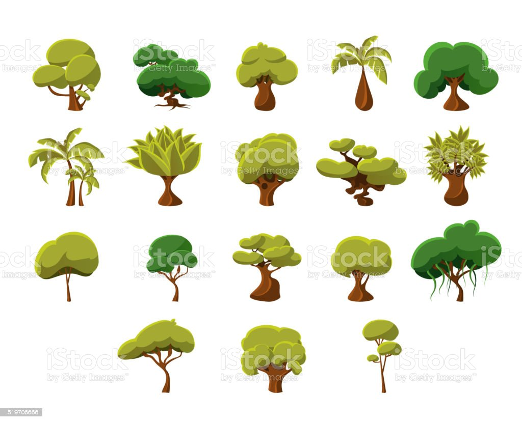 Tropical Trees Collection vector art illustration