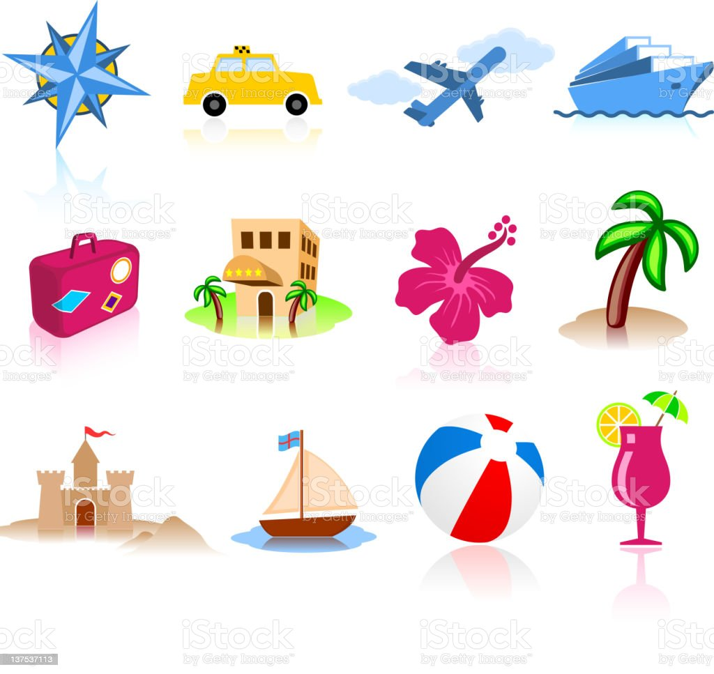 tropical vacation color royalty free vector icon set vector art illustration