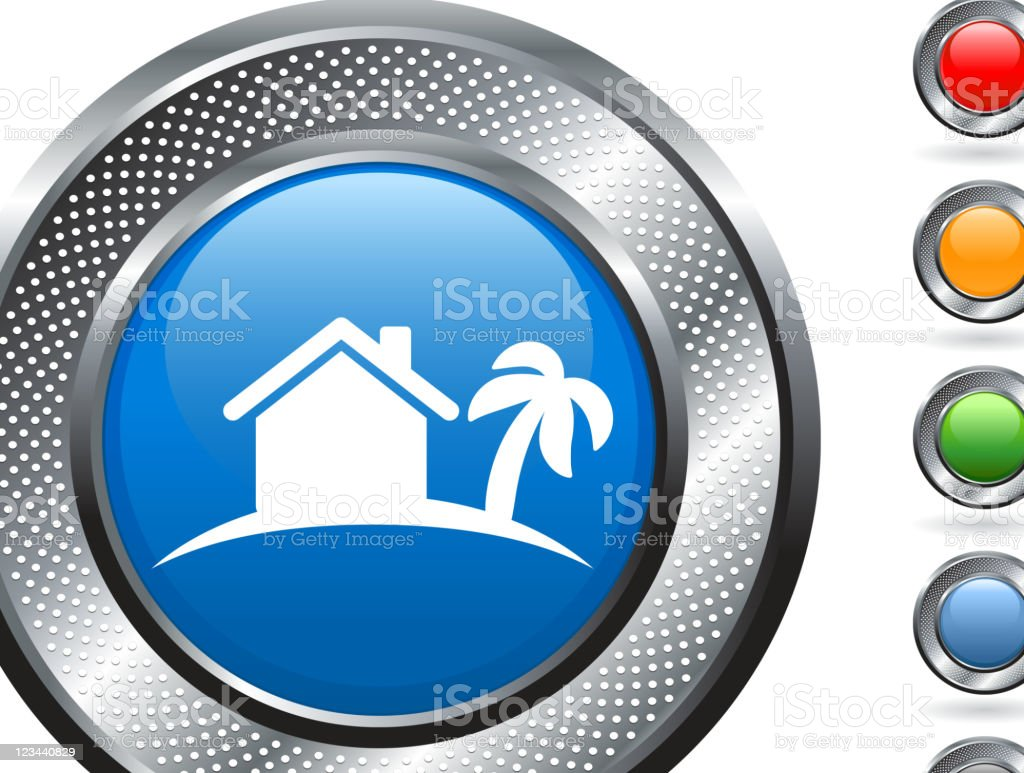 tropical vacation home royalty free vector art on metallic button royalty-free stock vector art