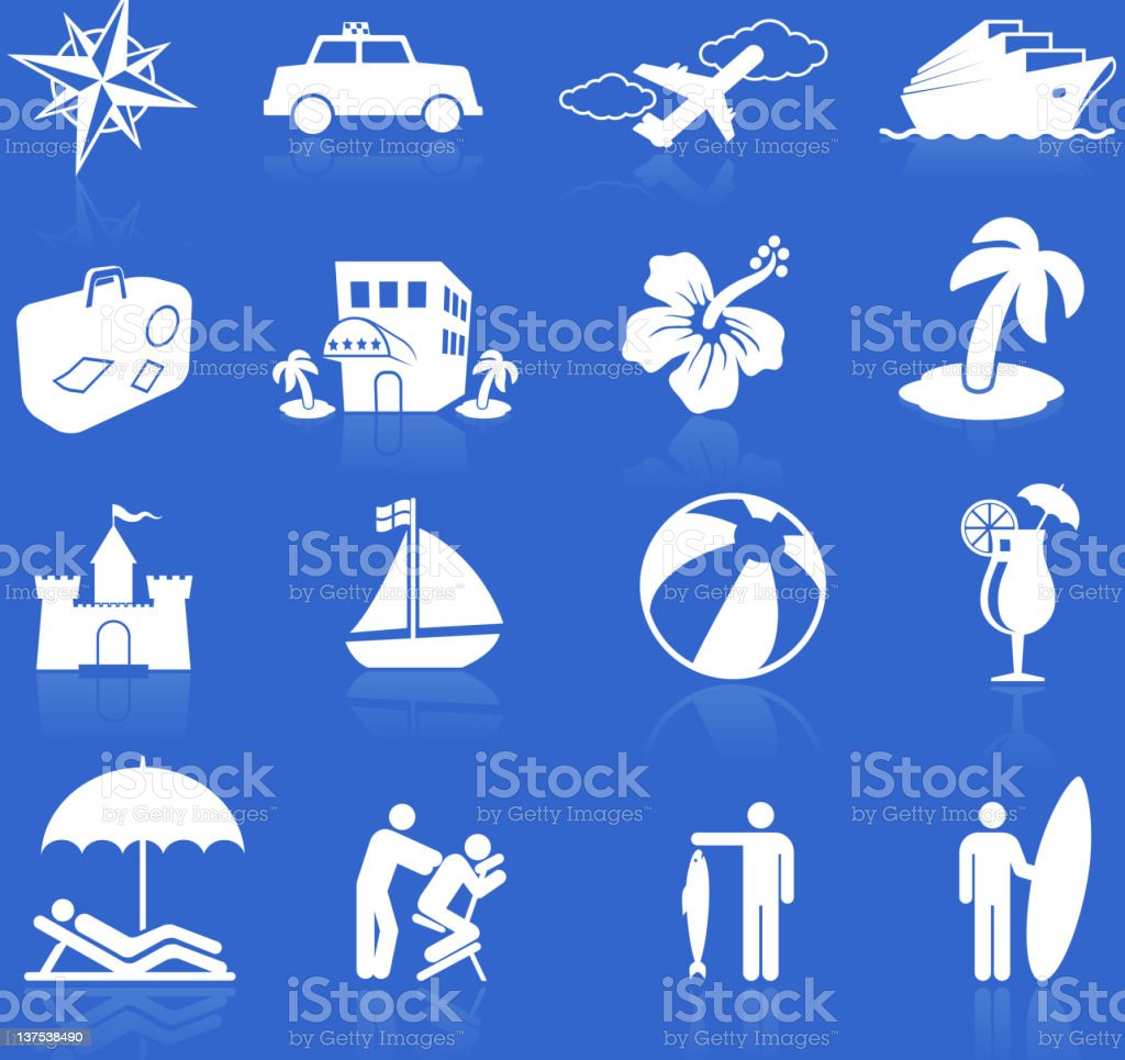 tropical vacation white on blue royalty free vector icon set vector art illustration