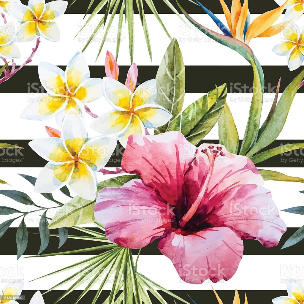 Tropical watercolor pattern vector art illustration