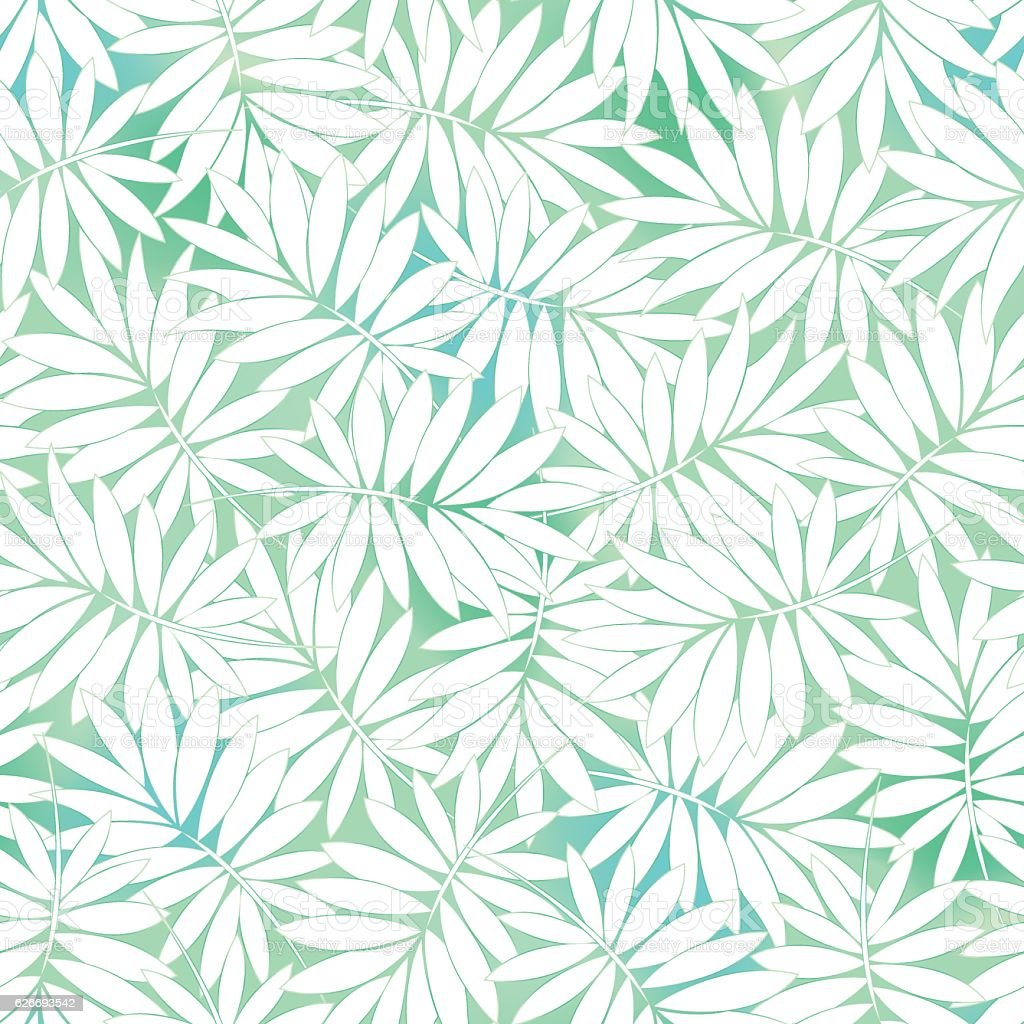 Tropical white and green leaves in a seamless pattern vector art illustration