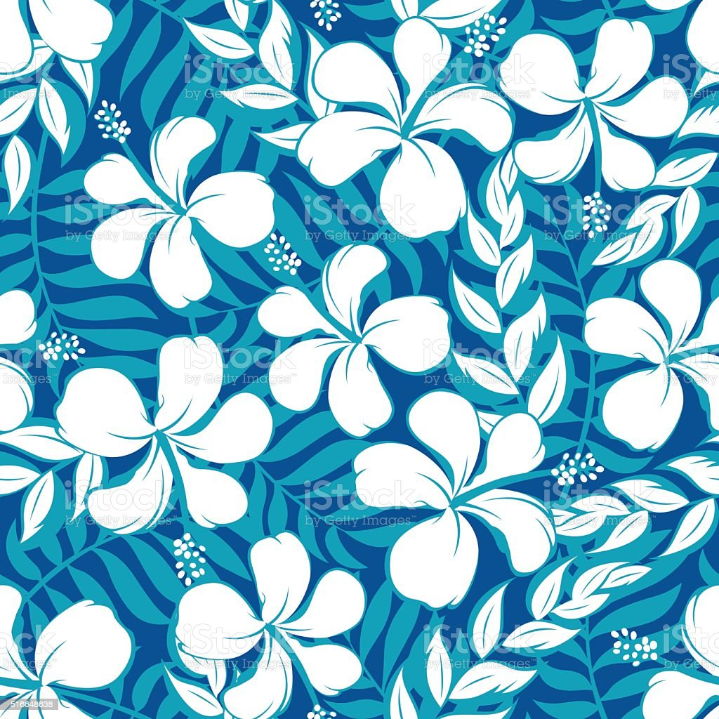 Tropical white and turquoise graphic seamless pattern vector art illustration